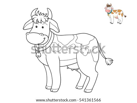 coloring book for children cartoon character farm animals cow - Child Drawing Book