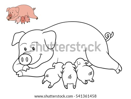 Coloring Book For Children Cartoon Character Farm Animals Pig