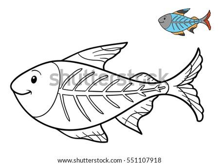 Coloring Book Children Xray Fish Stock Illustration 551107918