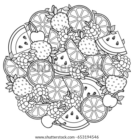fruit coloring pages for adults | Vector Coloring Book Adult Meditation Relax Stock Vector ...