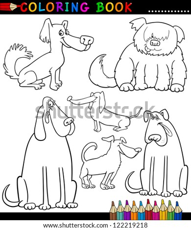 Coloring Book Or Coloring Page Black And White Cartoon Illustration Of  Funny Purebred Or Mongrel Dogs