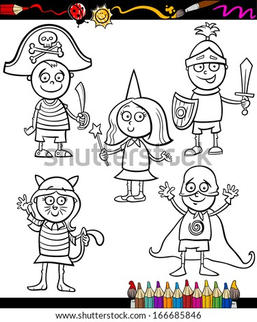 Coloring Book or Page Cartoon Illustration Set of Black and White Cute Little Children Characters in Ball Costumes - stock photo