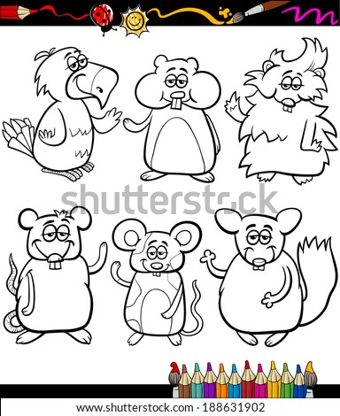 Coloring Book or Page Cartoon Illustration Set of Black and White Cute Pets Animals Characters for Children