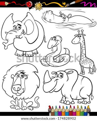 Set Cartoon Dinosaurs Black White Vector Stock Vector 298601132