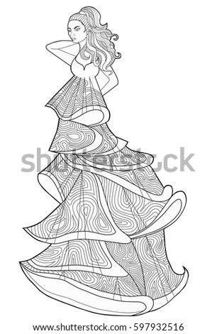 Coloring Book Page For Adults Woman In A Long Dress Fashion