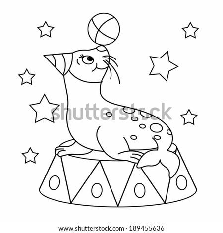 Circus seal ball stock photos circus seal ball stock for Circus seal coloring page