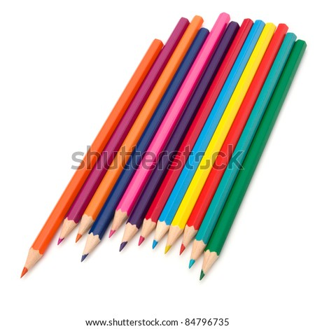 Coloring crayon pencils bunch isolated on white background - stock photo