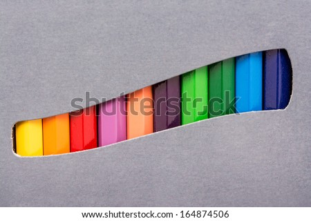 Coloring Crayons In A Box - stock photo