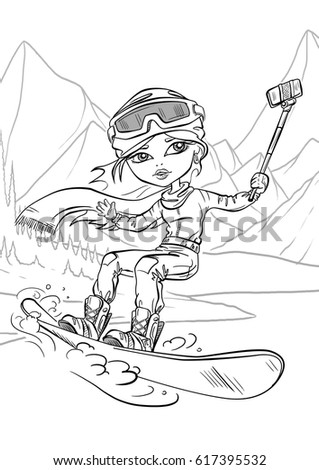 coloring girl snowboard