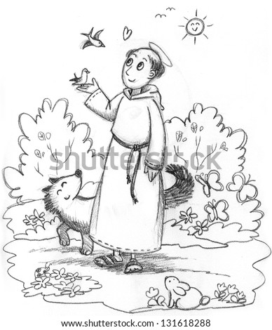 Coloring Illustration Saint Francis Wild Animals Stock St Francis Of Assisi Coloring Page