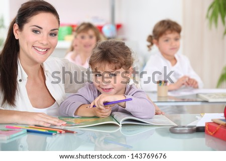 Coloring in school - stock photo