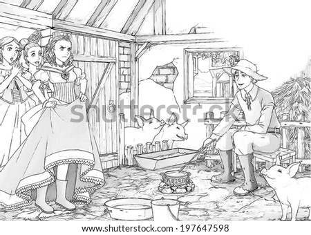 Coloring Page Cartoon Fairy Tale Illustration Stock Illustration ...