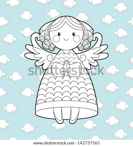 Coloring Page Christmas Angel Illustration Stock