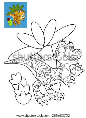 coloring page dinosaur illustration children stock illustration