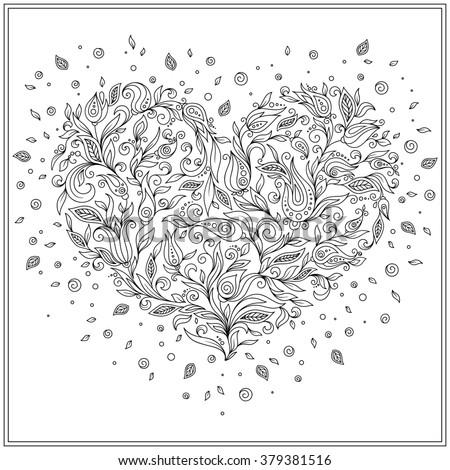 saint valentine coloring page - vector illustration decorative cockatoo on white stock