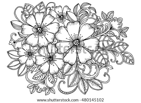 coloring page handdrawn bouquet of flowers