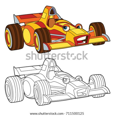 Coloring Page Isolated Racing Car Illustration Stock