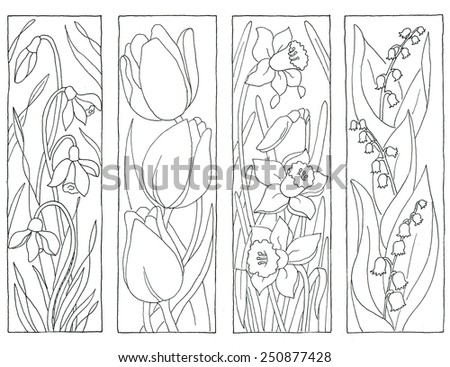 Coloring Page Spring Flowers Bookmarks