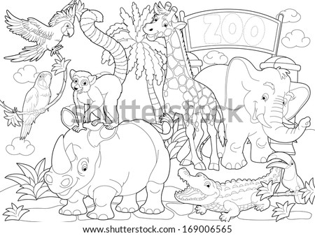 coloring page the zoo illustration for the children - Coloring Page Zoo