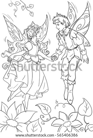 coloring page thumbelina and a flower fairy king
