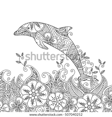 Coloring Page One Jumping Dolphin Sea Stock Illustration 507040252 ...