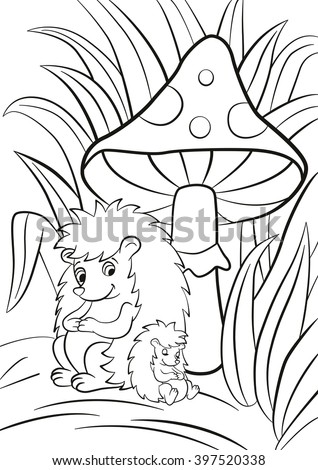 Coloring Pages Hedgehog Little Cute Baby Stock Illustration ...