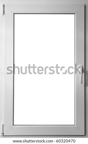 Colorized in white fiberglass window with handle - stock photo
