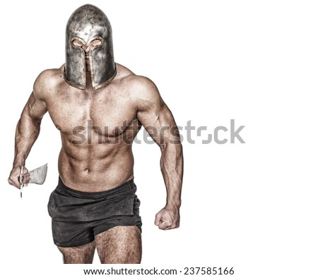 Colorless image of warrior who is getting on the fight - stock photo