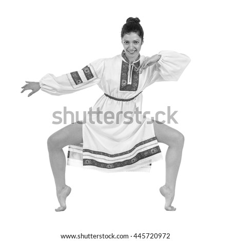 colorless portrait of dancing girl in polish national traditional costume