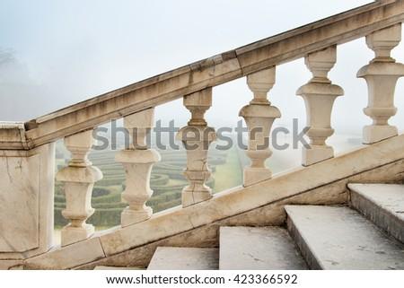COLORNO, ITALY - DECEMBER 20, 2015: White marble balustrade in Colorno, Emilia Romagna, Italy. - stock photo
