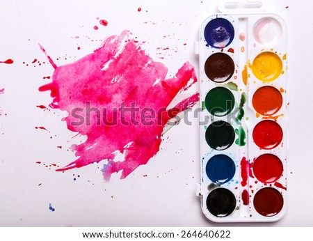 Colors, art. Colorful watercolor paint - stock photo