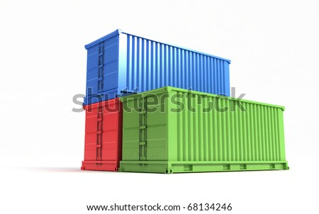 Colors containers isolated on a white background - stock photo