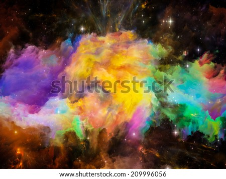 Colors in Space series. Composition of colorful clouds and space elements on the subject of art, creativity, imagination, science and design