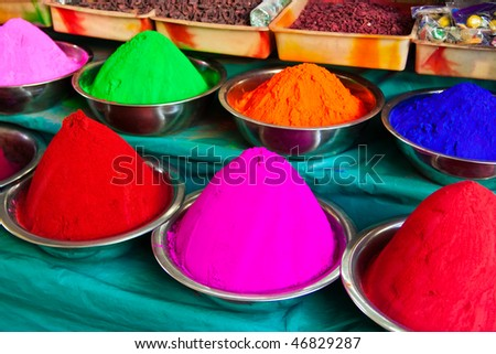Colors (Kumkum) for tilaka and bindi dots on the market in Mysore in India