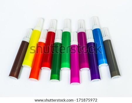 Colors Marker Pens on White Background  - stock photo