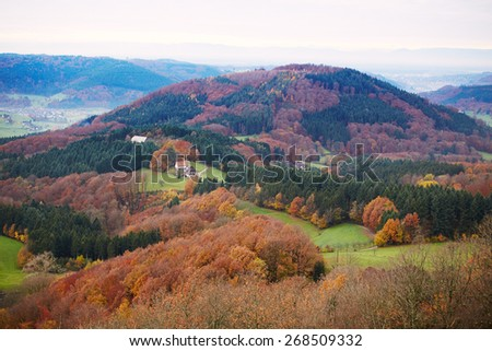 Colors of autumn, view of the mountain in Germany
