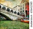 colors of beautiful Venice - artwork in painting style - Rialto bridge - stock photo