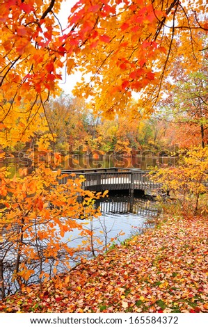 Colors of Fall on Wallace Lake, Metroparks, Cleveland, Ohio.