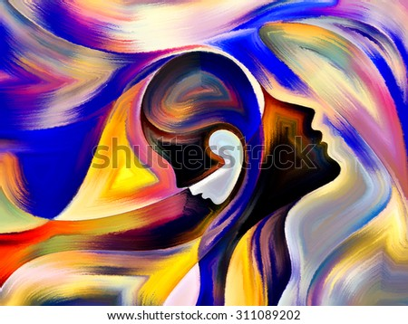 Colors of Fate series. Artistic background made of human profiles and colorful shapes for use with projects on inner world, sacred reality, emotion, human destiny - stock photo