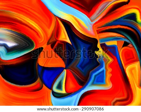 Colors of Fate series. Backdrop design of human profiles and colorful shapes to provide supporting composition for works on inner world, sacred reality, emotion, human destiny - stock photo