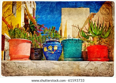 Colors of greece artistic vintage series stock photo - Flowers native to greece a sea of color ...