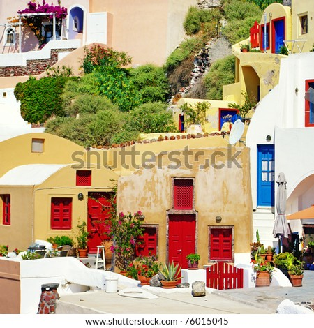 colors of Greece series - Santorini architecture - stock photo