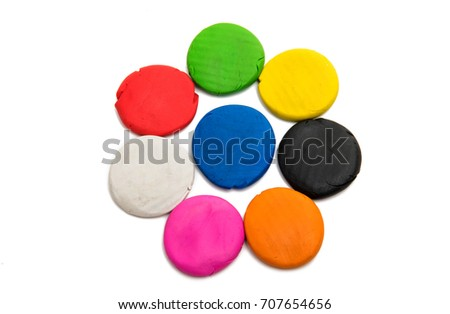 colors of modeling clay isolated on white background