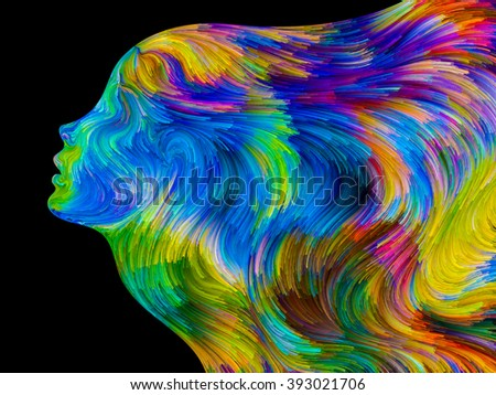 Colors of Passion series. Abstract design made of colorful human profiles executed in surreal painting style on the subject of dreams, passions, creativity and imagination - stock photo