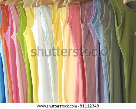 Colors of rainbow. Variety of casual peignoir - stock photo
