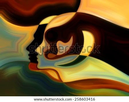 Colors of the Mind series. Artistic background made of elements of human face, and colorful abstract shapes for use with projects on mind, reason, thought, emotion and spirituality - stock photo