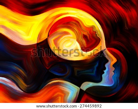 Colors of the Mind series. Backdrop composed of elements of human face, and colorful abstract shapes and suitable for use in the projects on mind, reason, thought, emotion and spirituality - stock photo