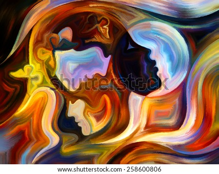 Colors of the Mind series. Visually pleasing composition of elements of human face, and colorful abstract shapes to serve as  background in works on mind, reason, thought, emotion and spirituality - stock photo