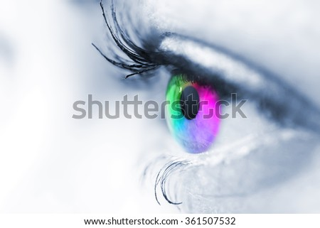 Colors of the rainbow in the eye of a woman with a shallow depth of field. - stock photo