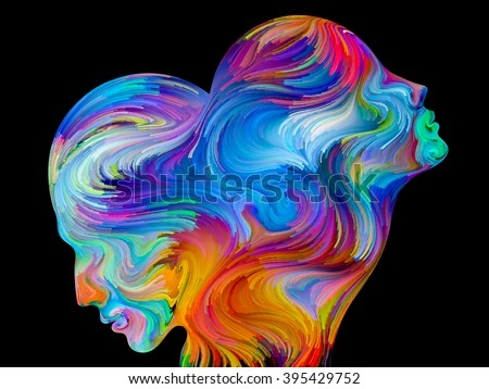 Colors of Unity series. Design composed of colorful and surreal human profiles as a metaphor on the subject of love, passion, romantic attraction and unity - stock photo